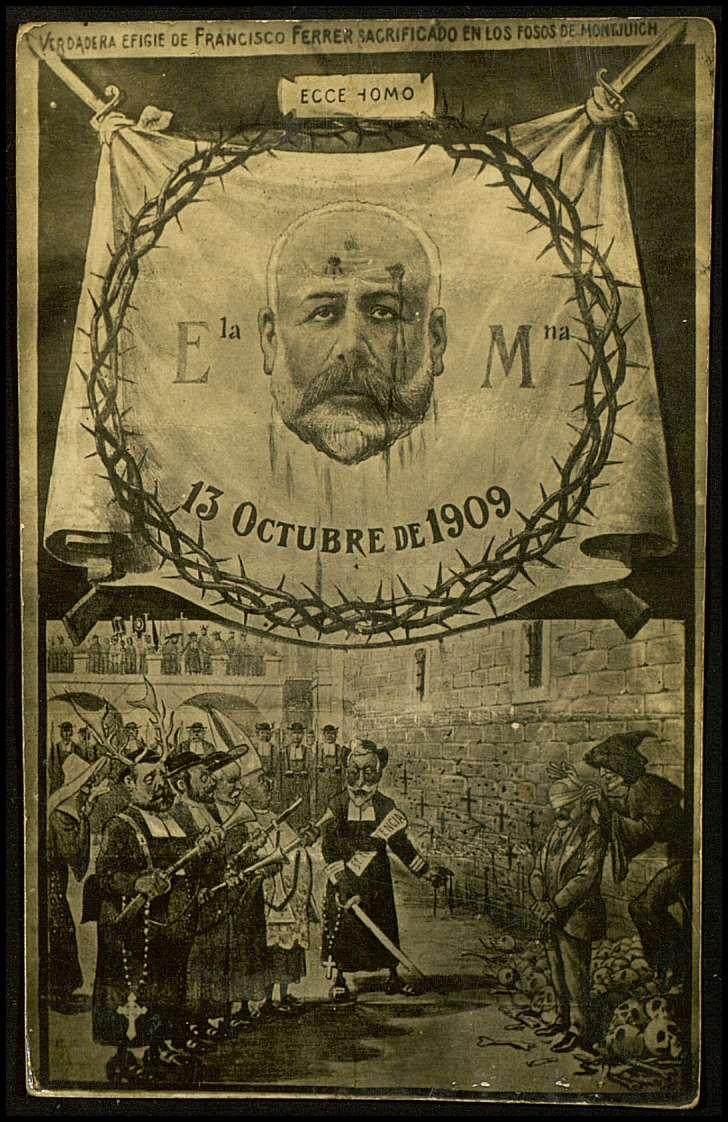 Postal commemorativa de l'afusellament de Ferrer i Guàrdia