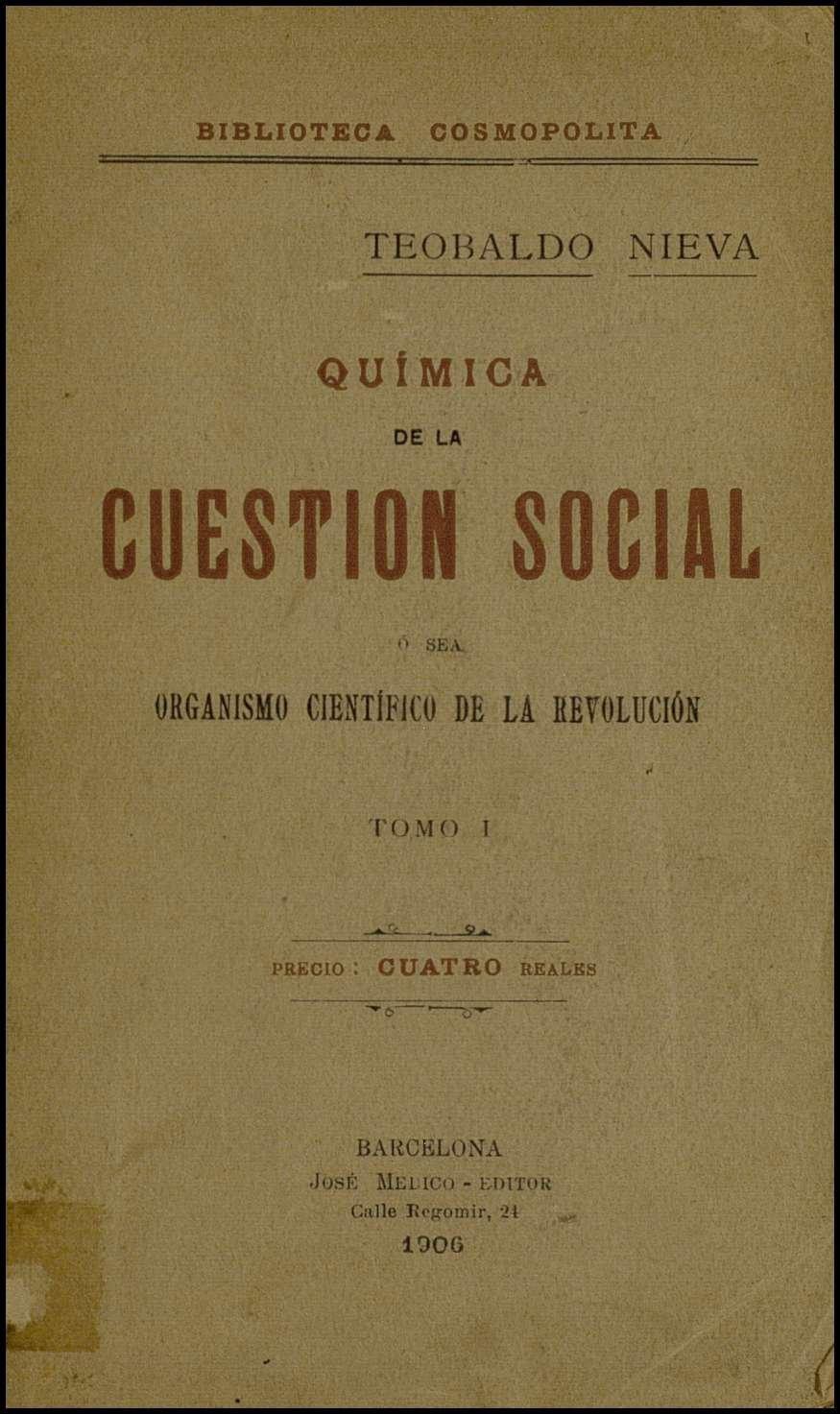 Química de la cuestión social : Organismo científico de la revolución (vol I)
