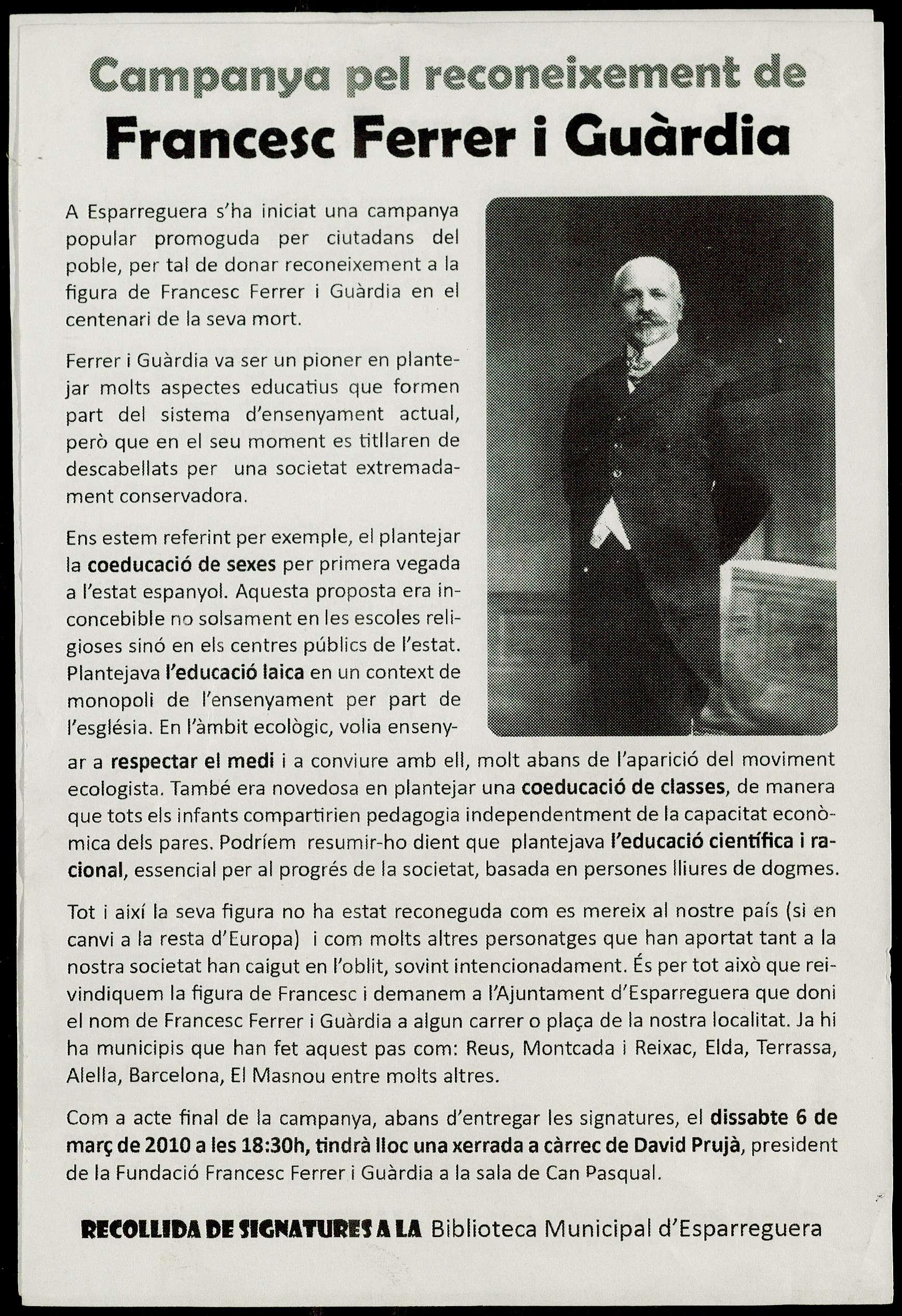 Campanya pel reconeixement de Francesc Ferrer i Guàrdia
