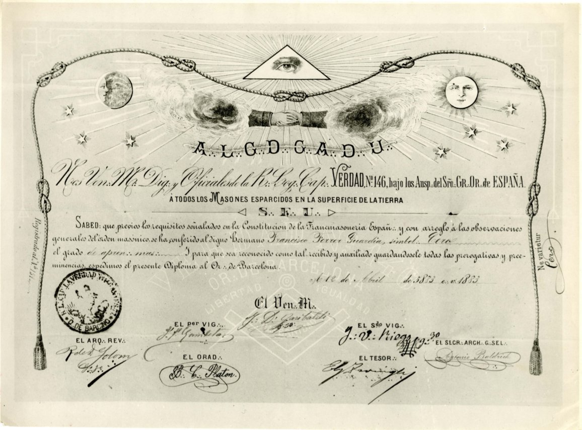 Diploma del Gran Oriente de España