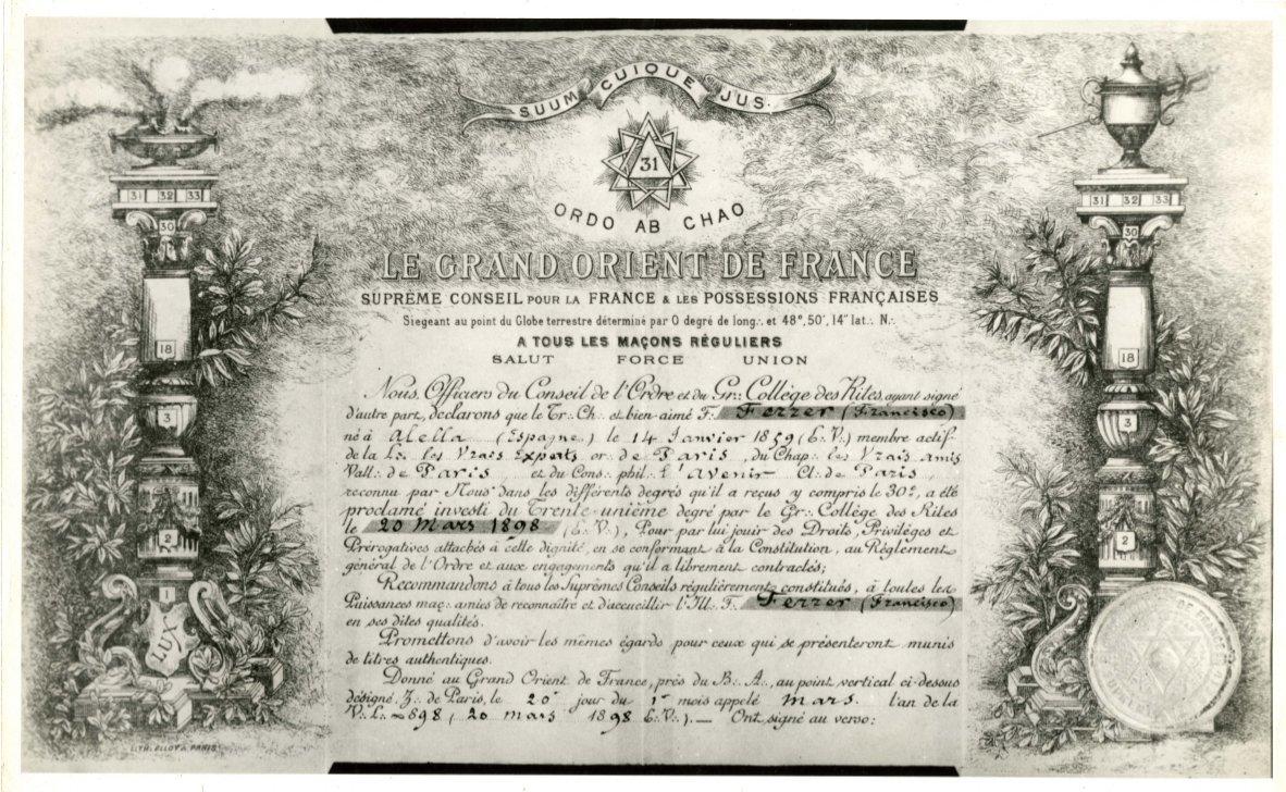 Diploma del Grand Orient de France
